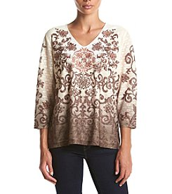 Alfred Dunner® Santa Fe Ombre Scroll Knit Top