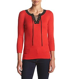 Jones New York® Lace Up Sweater