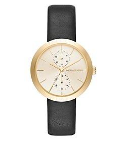 Michael Kors® Women's Garner Goldtone And Black Leather Multifunction Watch