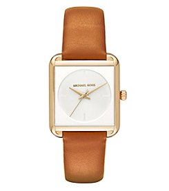 Michael Kors® Women's Lake Goldtone And Luggage Leather Three Hand Watch