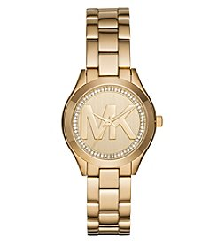 Michael Kors® Women's Mini Slim Runway Goldtone Three Hand Watch