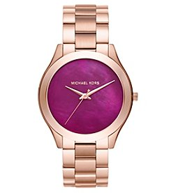 Michael Kors® Women's Slim Runway Rose Goldtone Three Hand Watch