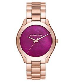 Michael Kors® Women's Slim Runway Rose Goldtone Three Hand Watch