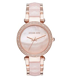 Michael Kors® Women's Parker Rose Goldtone And Blush Acetate Three Hand Watch