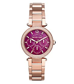 Michael Kors® Women's Mini Parker Rose Goldtone Three Hand Watch