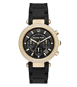 Michael Kors® Women's Parker Goldtone And Black Silicone Chronograph Watch