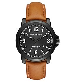 Michael Kors® Men's Paxton Black IP And Luggage Leather Three Hand Watch