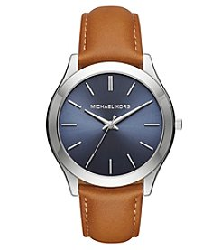 Michael Kors Men's Silvertone Slim Runway Stainless Steel And Light Brown Leather Three Hand Watch