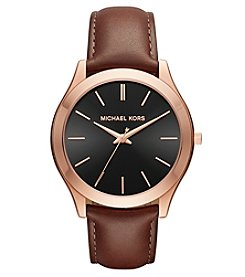 Michael Kors® Men's Slim Runway Rose Goldtone And Mahogany Leather Three Hand Watch