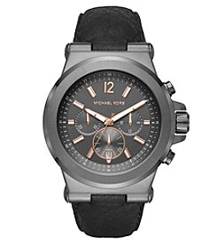 Michael Kors® Men's Dylan Gunmetal And Black Leather Chronograph Watch