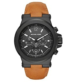 Michael Kors® Men's Dylan Luggage Leather And Black IP Chronograph Watch