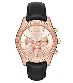 Michael Kors® Men's Lexington Rose Goldtone And Black Leather Chronograph Watch