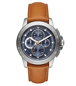 Michael Kors® Men's Ryker Stainless Steel And Luggage Leather Chronograph Watch