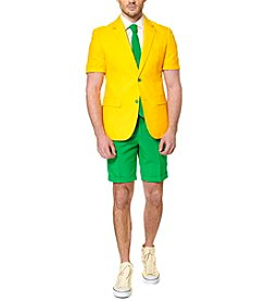 OppoSuits Men's Green And Gold Summer Suit