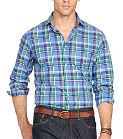 Polo Ralph Lauren® Men's Big & Tall Long Sleeve Plaid Poplin Button Down Shirt