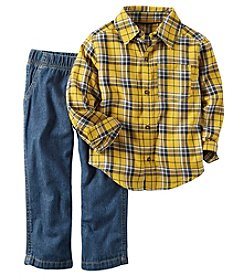 Carter's® Boys' 2T-4T 2-Piece Plaid Shirt And Jeans Set