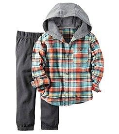 Carter's® Boys' 2T-4T 2-Piece Hooded Plaid Shirt And Joggers Set