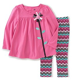 Kids Headquarters® Baby Girls' 2-Piece Ribbon Flower Tunic And Leggings Set