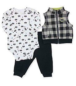Baby Essentials® Baby Boys 3-Piece Raccoon Vest Set
