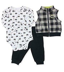 Baby Essentials® Baby Boys 3-Piece Raccoon Vest Set