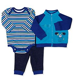 Baby Essentials® Baby Boys 3-Piece Woof Track Jacket Set