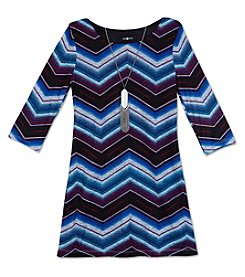 Amy Byer Girls' 7-16 Chevron Shift Dress With Necklace