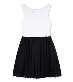 Amy Byer Girls' 7-16 Jeweled Neckline Fit And Flare Dress