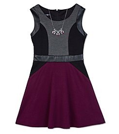 Amy Byer Girls' 7-16 Colorblock Fit And Flare Dress With Necklace