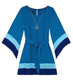 Amy Byer Girls' 7-16 Long Sleeve Colorblock Dress With Necklace