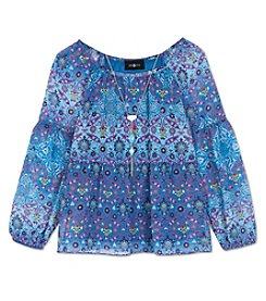 Amy Byer Girls' 7-16 Long Sleeve Boho Peasant Top With Necklace