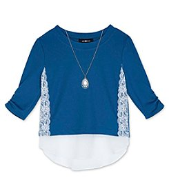 Amy Byer Girls' 7-16 3/4 Sleeve Lace Accent Top With Necklace