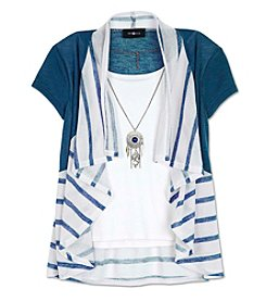 Amy Byer Girls' 7-16 Short Sleeve Layered Cozy With Necklace