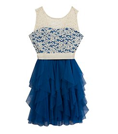 Rare Editions® Girls' 7-16 Lace Overlay Ruffle Dress