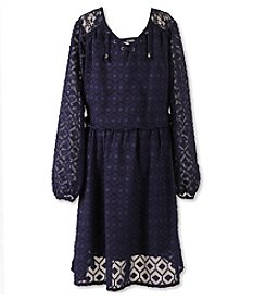 Speechless® Girls' 7-16 Plus Long Sleeve Tie Front Peasant Dress