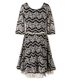 Speechless® Girls' 7-16 Plus Belted Lace Fit And Flare Dress