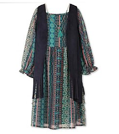 Speechless® Girls' 7-16 Plus Boho Peasant Dress With Vest And Necklace