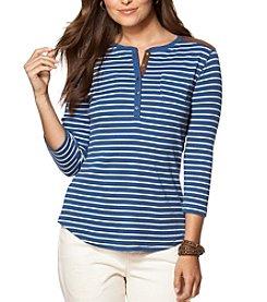 Chaps® Three-Quarter Sleeve Auburn Stripe Cotton Henley