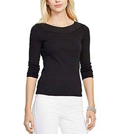 Lauren Ralph Lauren® Pointelle-Knit Cotton Top