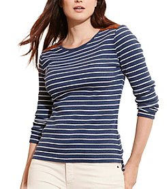 Lauren Ralph Lauren® Plus Size Striped Zip-Shoulder Top