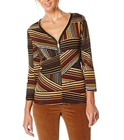 Rafaella® Diagonal Print Top With Zipper