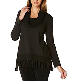 Rafaella® Solid Cowl Neck Fringe Top