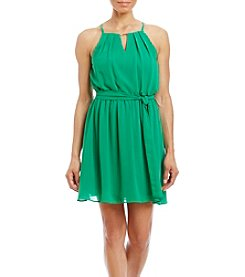 A. Byer Halter Neck Self Belt Dress