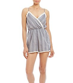Trixxi® Embroidered Chambray Crochet Trim Romper