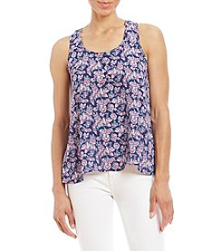 Pink Rose® Printed Henley Allover Floral Tank Top