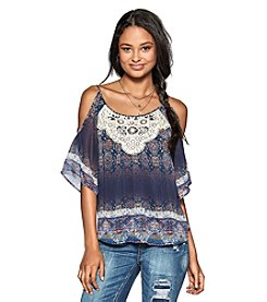 Eyeshadow® Crochet Yoke Cold Shoulder Top