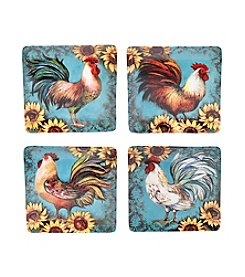 Certified International by Susan Winget Sunflower Rooster Set of 4 Dinner Plates