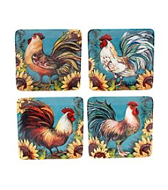 Certified International by Susan Winget Sunflower Rooster Set of 4 Salad Plates