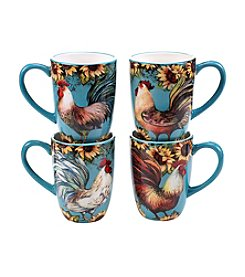 Certified International by Susan Winget Sunflower Rooster Set of 4 Mugs