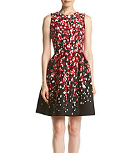 Calvin Klein Print Scuba Fit And Flare Dress
