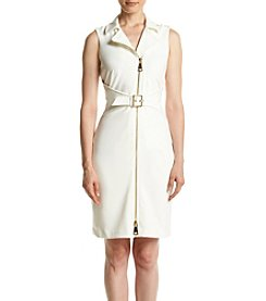 Calvin Klein Zip Front Belt Ponte Sheath Dress